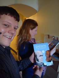 Anna and Danny unpack Darwin: a graphic biography at the headquarters of Edinburgh UNESCO City of Literature Trust.