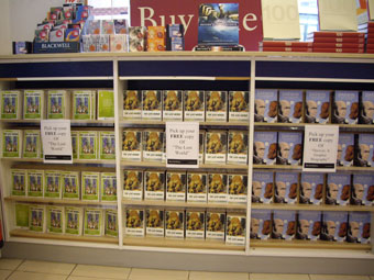 Display of free books at Blackwell on Park Street, Bristol.