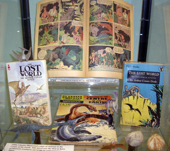 There's a free exhibition on Conan Doyle, Darwin and early portrayals of evolution at Bristol Reference Library near College Green until 31 May 2009. It's been curated by Dawn Dyer and Anthony Beeson. Here are pictures of some of the displays.