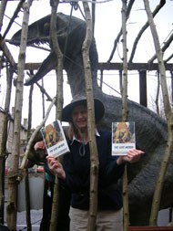The Wookey Hole roaring dinosaur launches the Lost World Read in North Somerset outside Weston-super-Mare Library.
