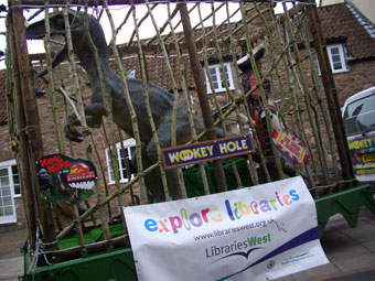 The Wookey Hole roaring dinosaur comes to Thornbury in South Gloucestershire to launch the project.